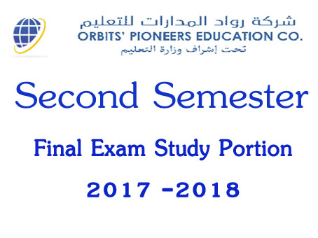 2nd Semester Final Exam Study Portion 2017-2018